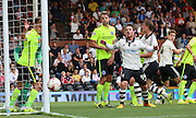 Matt Smith's chance just going past the post during the Sky Bet Championship match between Fulham and Brighton and Hove Albion at Craven Cottage, London, England on 15 August 2015. Photo by Matthew Redman.