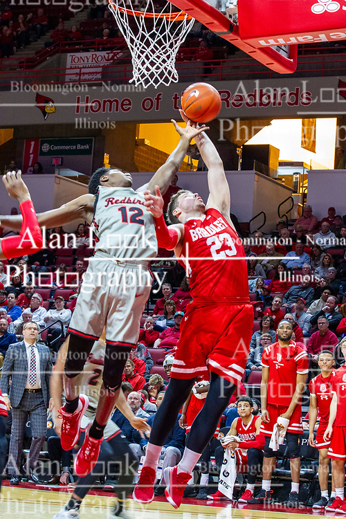 NORMAL, IL - February 26: Antonio Reeves and      Ville Tahnanainen during a college basketball game between the ISU Redbirds and the Bradley Braves on February 26 2020 at Redbird Arena in Normal, IL. (Photo by Alan Look)