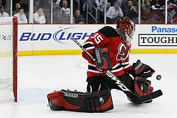 Feb 9, 2009; Newark, NJ, USA; New Jersey Devils goalie Scott Clemmensen (35) makes a save during the third period at the Prudential Center. The Devils defeated the Rangers 3-0.