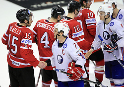 Dany Heatley and Tommy Jakobsen after play-off round quarterfinals ice-hockey game Norway vs Canada at IIHF WC 2008 in Halifax,  on May 14, 2008 in Metro Center, Halifax, Nova Scotia,Canada. (Photo by Vid Ponikvar / Sportal Images)