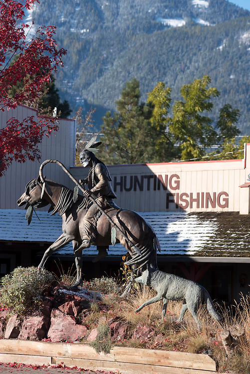 Tracking the Intruders, a bronze sculpure in downtown Joseph, Oregon.