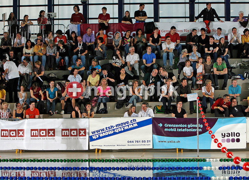 Billboard advertising and spectators at the Swiss Swimming Championships in Zurich (Zuerich) Oerlikon, Switzerland, Sunday, March 22, 2009. (Photo by Patrick B. Kraemer / MAGICPBK)