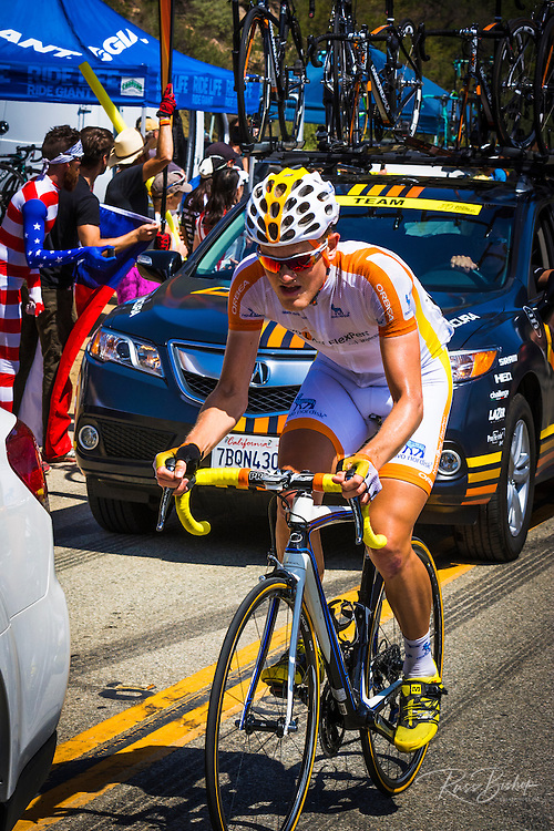 Professional cyclist at the Amgen Tour of California, Santa Monica Mountains, California USA