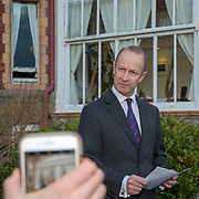 """UKIP Leader Henry Bolton announces from outside his Folkestone home that he will not be resigning as party leader and has said that UKIP's National Executive Committee that backed a vote of no confidence in him """"is unfit for purpose"""" and """"requires urgent reform"""". Folkestone, Kent, United Kingdom. 22nd January 2018. (photo by Andrew Aitchison / In pictures via Getty Images)"""