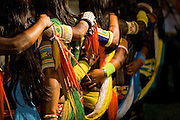 Brazil, Indigenous. Kayapo women celebrating at the ritual, before the Indigenous National Party.