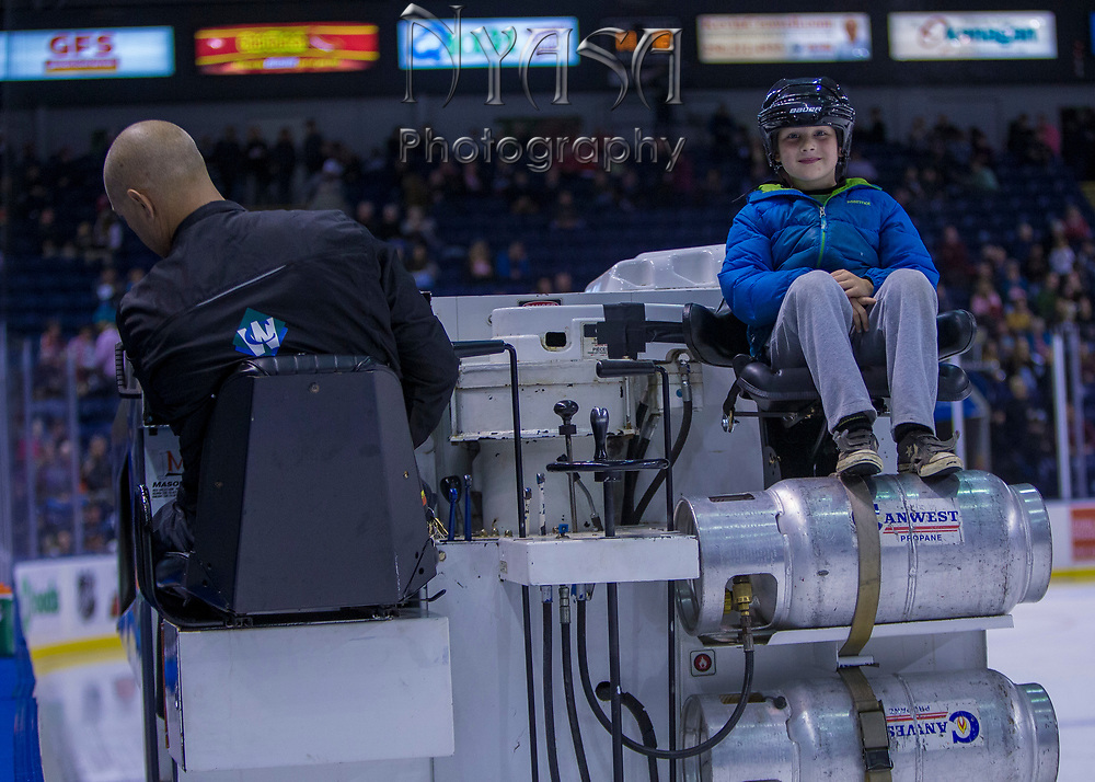 KELOWNA, CANADA - OCTOBER 21:  Orchard Park Zamboni Rider at the Kelowna Rockets game on October 21, 2017 at Prospera Place in Kelowna, British Columbia, Canada.  (Photo By Cindy Rogers/Nyasa Photography,  *** Local Caption ***
