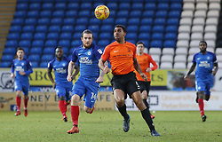 Jack Marriott of Peterborough United in action with Anton Ferdinand of Southend United - Mandatory by-line: Joe Dent/JMP - 03/02/2018 - FOOTBALL - ABAX Stadium - Peterborough, England - Peterborough United v Southend United - Sky Bet League One