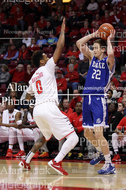 26 January 2016: Casey Schlatter(22) looks to make a pass after encountering Nick Banyard(0) during the Illinois State Redbirds v Drake Bulldogs at Redbird Arena in Normal Illinois (Photo by Alan Look)