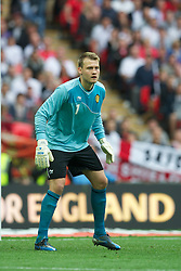 LONDON, ENGLAND - Saturday, June 2, 2012: Belgium's goalkeeper Simon Mignolet in action against England during the International Friendly match at Wembley. (Pic by David Rawcliffe/Propaganda)