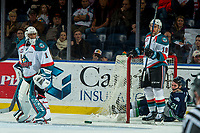 KELOWNA, CANADA - JANUARY 5: James Porter #1 looks back to his net after Carsen Twarynski #18 of the Kelowna Rockets collided with Matthew Wedman #21 of the Seattle Thunderbirds taking out the net on January 5, 2017 at Prospera Place in Kelowna, British Columbia, Canada.  (Photo by Marissa Baecker/Shoot the Breeze)  *** Local Caption ***