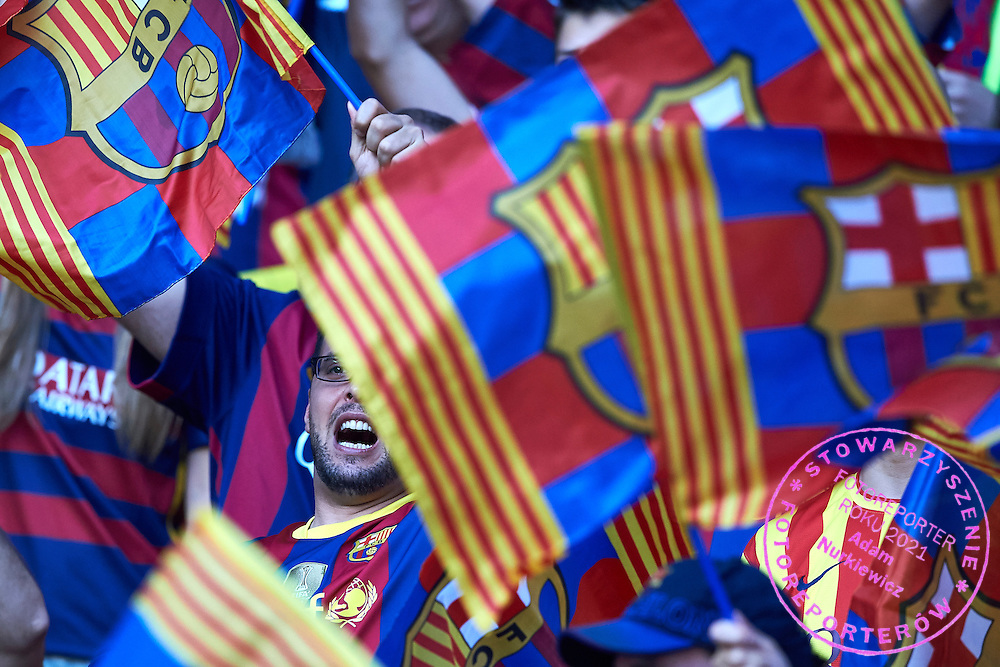 Supporters of Barcelona during the 2014/15 UEFA Champions League Final between Juventus and FC Barcelona at Olympiastadion on June 6, 2015 in Berlin, Germany.<br /> Germany, Berlin, June 6, 2015<br /> <br /> Picture also available in RAW (NEF) or TIFF format on special request.<br /> <br /> For editorial use only. Any commercial or promotional use requires permission.<br /> <br /> Adam Nurkiewicz declares that he has no rights to the image of people at the photographs of his authorship.<br /> <br /> Mandatory credit:<br /> Photo by &copy; Adam Nurkiewicz / Mediasport