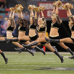 2008 December, 28: New Orleans Saints, Saintsations cheerleaders perform during a week 17 game between NFC South divisional rivals the Carolina Panthers and the New Orleans Saints at the Louisiana Superdome in New Orleans, LA.
