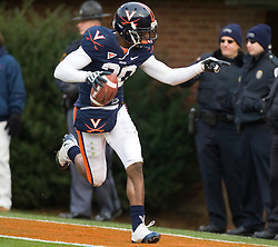 Virginia wide receiver Kevin Ogletree (20) celebrates in the end zone after scoring a touchdown.  The score was overturned on a penalty.  The Clemson Tigers defeated Virginia Cavaliers 13-3 in NCAA Division 1 football at Scott Stadium on the Grounds of the University of Virginia in Charlottesville, VA on November 22, 2008.