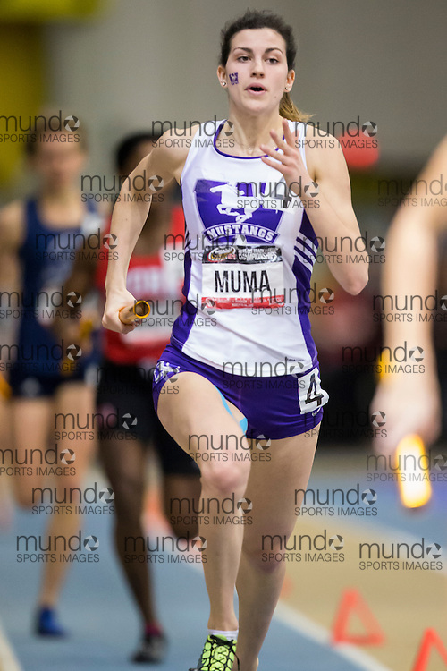 Windsor, Ontario ---2015-03-14--- Rachel Muma of the University of Toronto competes in the 4X400m at the 2015 CIS Track and Field Championships in Windsor, Ontario, March 14, 2015.<br /> GEOFF ROBINS/ Mundo Sport Images