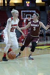 01 November 2017: Hannah Green guarded by Kennedy Dura during a Exhibition College Women's Basketball game between Illinois State University Redbirds the Red Devils of Eureka College at Redbird Arena in Normal Illinois.