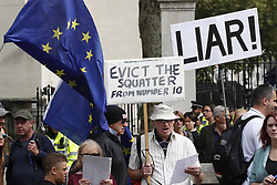 © Licensed to London News Pictures. 07/09/2019. London, UK. Pro-EU demonstrators gather for a Stop the Coup protest in Whitehall, central London. Photo credit: Peter Macdiarmid/LNP