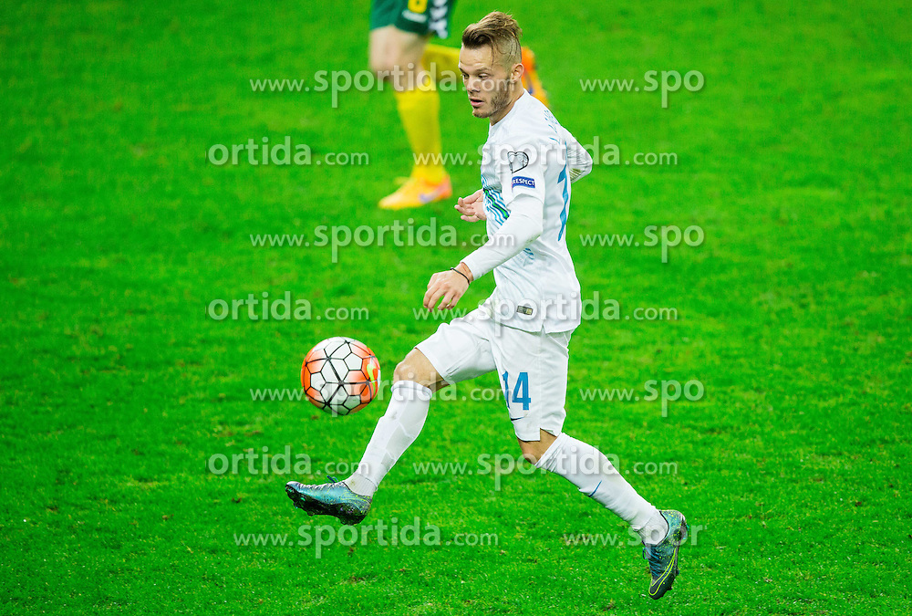 Dejan Lazarevic of Slovenia during the EURO 2016 Qualifier Group E match between Slovenia and Lithuania, on October 9, 2015 in SRC Stozice, Ljubljana Slovenia. Photo by Vid Ponikvar / Sportida
