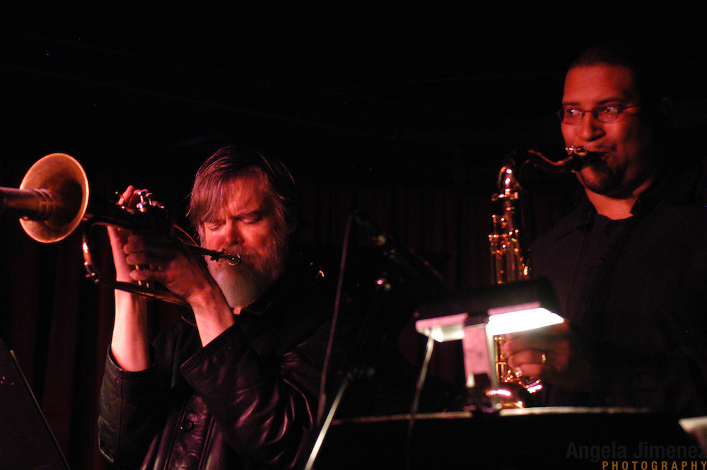 Horn player Tom Harrell, left, and saxophonist Jimmy Greene perform with the Tom Harrell Quintet at The Village Vanguard jazz club in Manhattan on April 29, 2003.