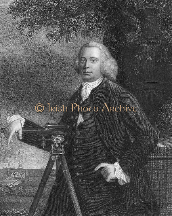 James Brindley (1716-1772) English civil engineer and canal builder.  Brindley rests a hand on a theodolite and points to the aqueduct over the Irwell on the Worsley to Manchester (Bridgewater) canal (1759-1772). Engraving after portrait by Francis Parsons (active 1763-1783).