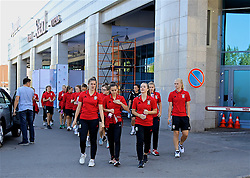 ASTANA, KAZAKHSTAN - Saturday, September 16, 2017: Wales' goalkeeper Claire Skinner, Georgia Evans on a team walk in Astana ahead of the FIFA Women's World Cup 2019 Qualifying Round Group 1 match against Kazakhstan. (Pic by David Rawcliffe/Propaganda)