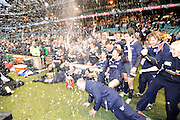 Twickenham, GREAT BRITAIN,  Oxford celebrate victory after beating cambridge 33 to 29 points at the  2008 Varsity Rugby match Oxford vs Cambridge played at the RFU Stadium Twickenham, Surrey on  Thursday, 11/12/2008[Photo, Peter Spurrier/Intersport-images]