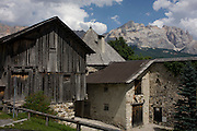 Old barn and Dolomites house in La Villa, in Alta Badia, south Tyrol, Italy.