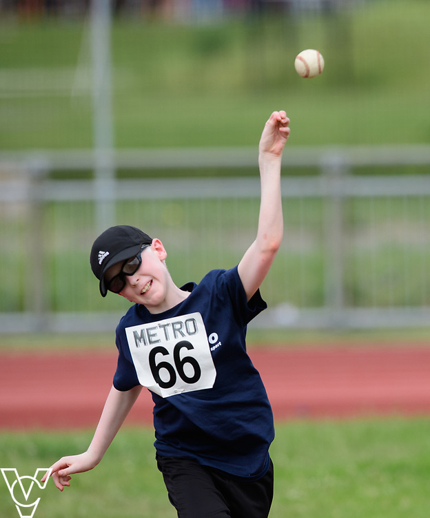 Metro Blind Sport's 2017 Athletics Open held at Mile End Stadium.  Ball throw.  Eoin Quigley<br /> <br /> Picture: Chris Vaughan Photography for Metro Blind Sport<br /> Date: June 17, 2017