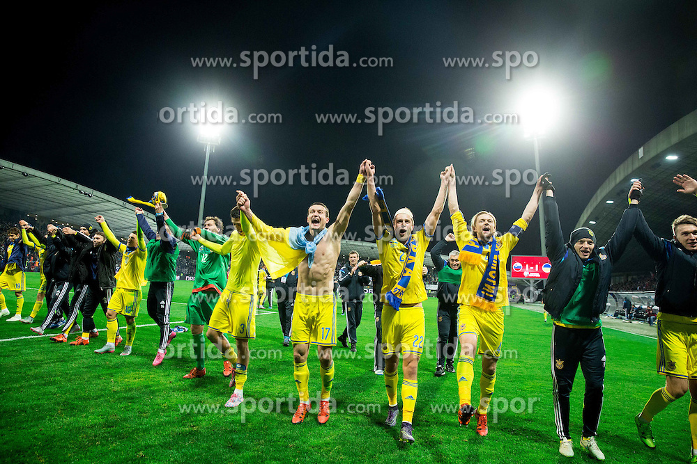 Players of Ukraine celebrate after the UEFA EURO 2016 Play-off for Final Tournament, Second leg between Slovenia and Ukraine, on November 17, 2015 in Stadium Ljudski vrt, Maribor, Slovenia. Photo by Vid Ponikvar / Sportida