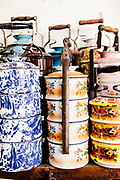 Collection of tiffin tins at house of Chris Ong. Georgtown, Penang