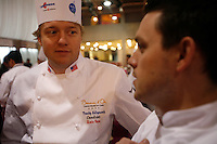 Timothy Hollingsworth, Team USA chef, with  Gavin Kaysen..  at the Bocuse d'Or..Owen Franken for the NY Times..January 27, 2009