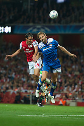 LONDON, ENGLAND - WEDNESDAY, SEPTEMBER 28, 2011: Arsenal's Marouane Chamakh in action against Olympiacos during the UEFA Champions League Group F match at the Emirates Stadium. (Photo by Chris Brunskill/Propaganda)