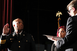 Newly-appointed Minneapolis Police Chief Medaria Arradondo, left, takes the oath of office during a public swearing-in ceremony for Arradondo on Friday, Sept. 8, 2017, at the Sabathani Community Center in Minneapolis. (Photo by Anthony Souffle/Minneapolis Star Tribune/TNS/Sipa USA)