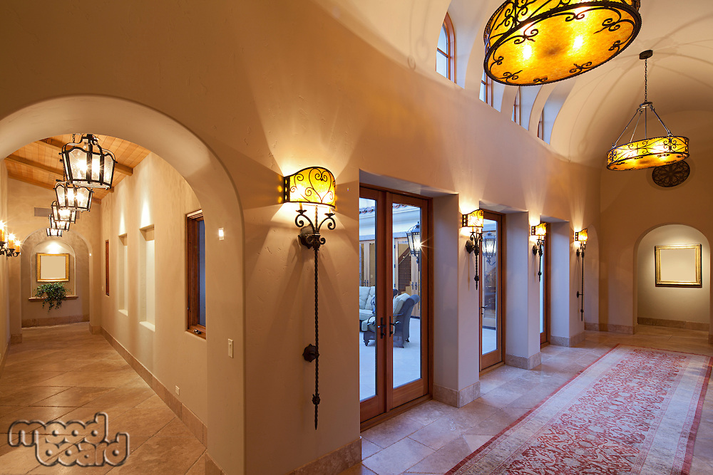 View down perpendicular hallways in Luxurious house