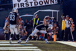 OAKLAND, CA - NOVEMBER 17: Tight end Foster Moreau #87 of the Oakland Raiders celebrates after scoring a touchdown against the Cincinnati Bengals during the second quarter at RingCentral Coliseum on November 17, 2019 in Oakland, California. The Oakland Raiders defeated the Cincinnati Bengals 17-10. (Photo by Jason O. Watson/Getty Images) *** Local Caption *** Foster Moreau