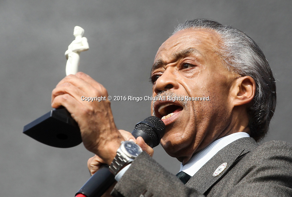 Rev. Al Sharpton holding a white Oscar statue speaks during a rally and march circle to protest the all-white slate of Oscar acting nominees and calling for more diversity in the entertainment industry, Sunday Feb. 28, 2016 in Los Angeles.(Photo by Ringo Chiu/PHOTOFORMULA.com)<br /> <br /> Usage Notes: This content is intended for editorial use only. For other uses, additional clearances may be required.