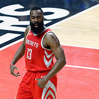 28 February 2018: Houston Rockets guard James Harden (13) reacts during the Houston Rockets 105-92 victory over the LA Clippers, at the Staples Center, Los Angeles, California, USA.