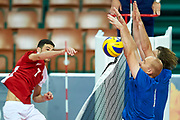 Katowice, Poland - 2017 September 02: (L) Athlete Savalan Shahbazov from SO Azerbaijan attacks while SO Azerbaijan versus SO Finland match during European Unified Volleyball Tournament 2017 at Spodek Hall on September 02, 2017 in Katowice, Poland.<br /> <br /> Adam Nurkiewicz declares that he has no rights to the image of people at the photographs of his authorship.<br /> <br /> Picture also available in RAW (NEF) or TIFF format on special request.<br /> <br /> Any editorial, commercial or promotional use requires written permission from the author of image.<br /> <br /> Image can be used in the press when the method of use and the signature does not hurt people on the picture.<br /> <br /> Mandatory credit:<br /> Photo by &copy; Adam Nurkiewicz / Mediasport