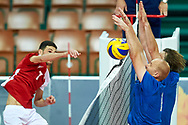 Katowice, Poland - 2017 September 02: (L) Athlete Savalan Shahbazov from SO Azerbaijan attacks while SO Azerbaijan versus SO Finland match during European Unified Volleyball Tournament 2017 at Spodek Hall on September 02, 2017 in Katowice, Poland.<br /> <br /> Adam Nurkiewicz declares that he has no rights to the image of people at the photographs of his authorship.<br /> <br /> Picture also available in RAW (NEF) or TIFF format on special request.<br /> <br /> Any editorial, commercial or promotional use requires written permission from the author of image.<br /> <br /> Image can be used in the press when the method of use and the signature does not hurt people on the picture.<br /> <br /> Mandatory credit:<br /> Photo by © Adam Nurkiewicz / Mediasport
