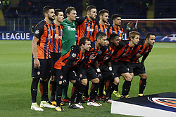 (Top Row L-R) David Khocholava of FC Shakhtar Donetsk, Taras Stepanenko of FC Shakhtar Donetsk, goalkeeper Andriy Pyatov of FC Shakhtar Donetsk, Ivan Ordets of FC Shakhtar Donetsk, Facundo Ferreyra of FC Shakhtar Donetsk, Taison of FC Shakhtar Donetsk <br />
