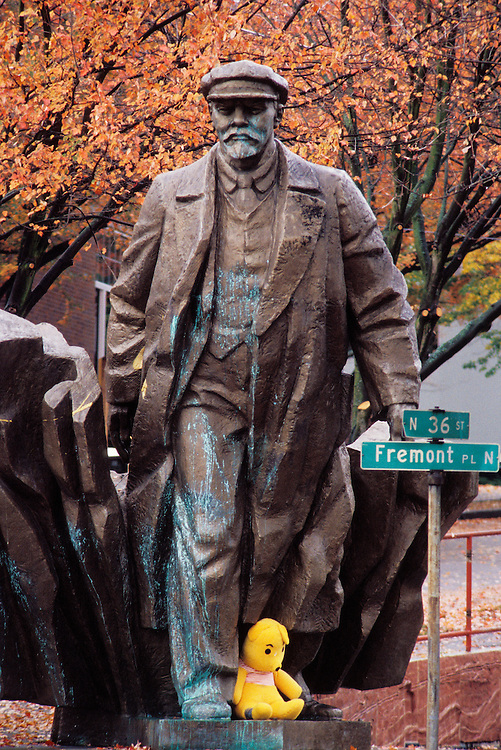 Statue of Russian Communist revolutionary leader Vladimir Lenin in the Fremont District of Seattle, Washington.