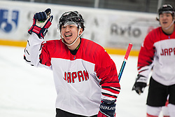 MINOSHIMA Keigo (JAP) celebrating goal during OI pre-qualifications of Group G between Slovenia men's national ice hockey team and Japan men's national ice hockey team, on February 9, 2020 in Ice Arena Podmezakla, Jesenice, Slovenia. Photo by Peter Podobnik / Sportida