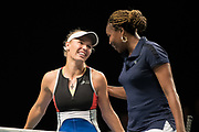 Caroline Wozniacki and Venus Williams at the 2018 Champions Battle at Parken, Copenhagen, Denmark, 30-04-2018. Photo Credit: Katja Boll/EVENTMEDIA.