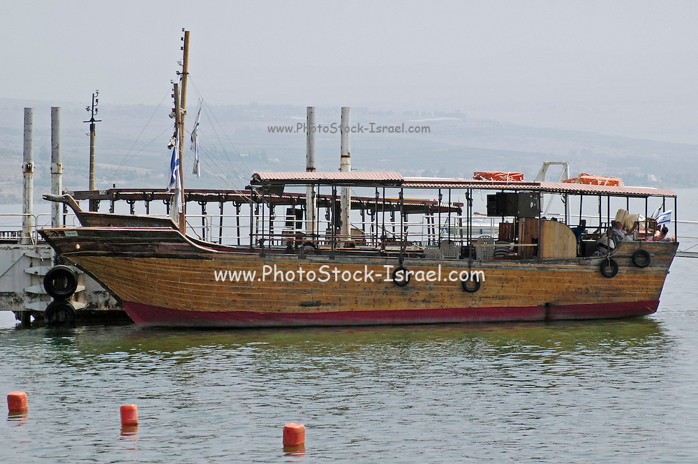 A one to one replica of Jesus' Boat. Old wooden boat uncovered in the sea of Galilee, dated to the time of Jesus Christ. The original boat is on display at Kibbutz Ginosar, Israel