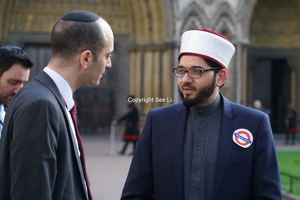 London,England,uk, 24th March 2017, Speaker Khalifa Ezzat of London Central Mosque vigil for the victims of the terror attacks at Westminster Abbey,London,UK. by See Li