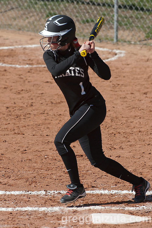 Payette senior Sidney King leads off the first inning during the Vale Payette softball game, March 22, 2014 at Payette, Idaho.