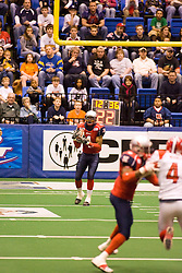 14 March 2009: Laroche Jackson catches a punt. The Sioux Falls Storm were hosted by the Bloomington Extreme in the US Cellular Coliseum in downtown Bloomington Illinois.