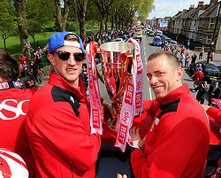 Bristol City's Aden Flint and Bristol City's Aaron Wilbraham  on the top deck of the open top bus tour- Photo mandatory by-line: Joe Meredith/JMP - Mobile: 07966 386802 - 04/05/2015 - SPORT - Football - Bristol -  - Bristol City Celebration Tour