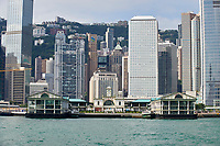 Hong Kong Skyline Hong Kong Skyline and Central Pier, Hong Kong, Hong Kong, August 2008   Photo: Peter Llewellyn