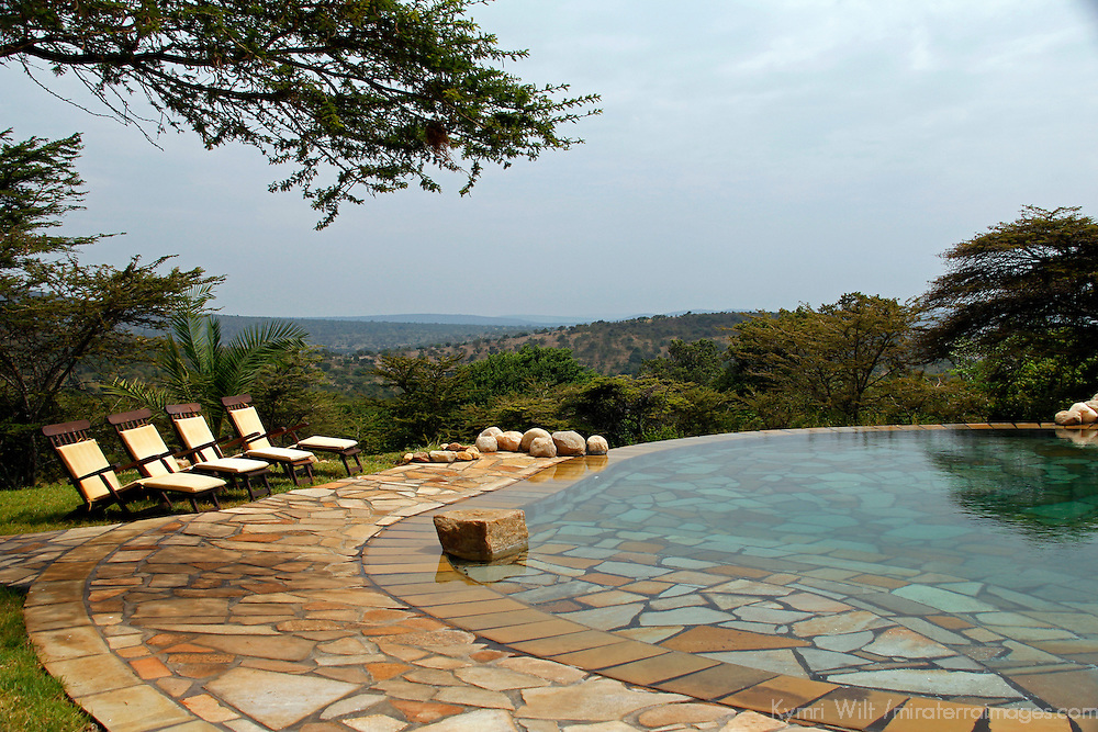 Africa, Kenya, Masai Mara. Cottar's 1920's Safari Camp Pool.