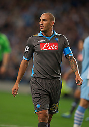 MANCHESTER, ENGLAND - Wednesday, September 14, 2011: SSC Napoli's Paolo Cannavaro, brother of former Italian International Fabio, during the UEFA Champions League Group A match at the City of Manchester Stadium. (Photo by Chris Brunskill/Propaganda)